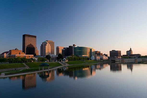 Dayton Ohio Cityscape Skyline at Dusk stock photo