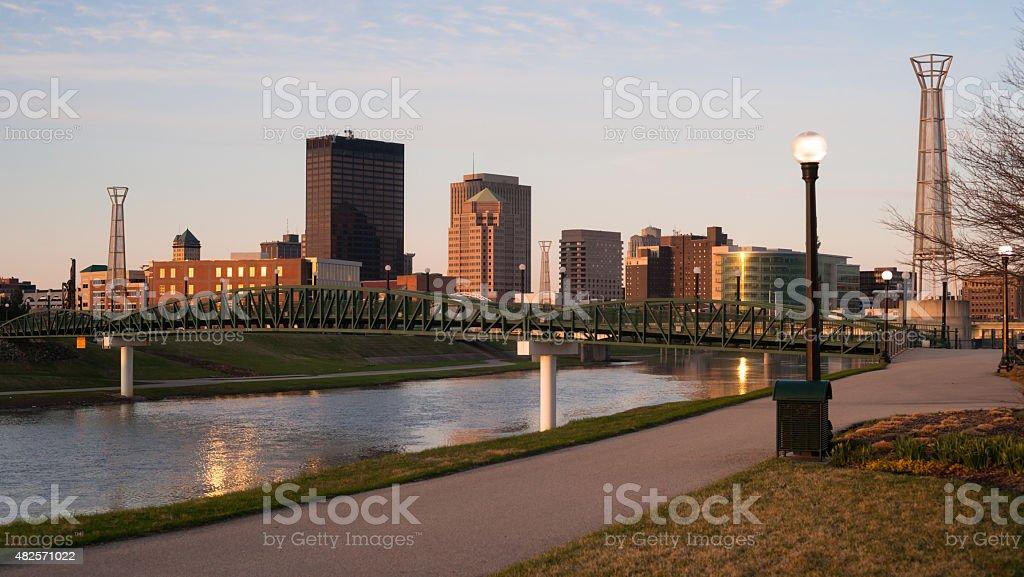 Dayton Ohio Downtown City Skyline Great Miami River stock photo