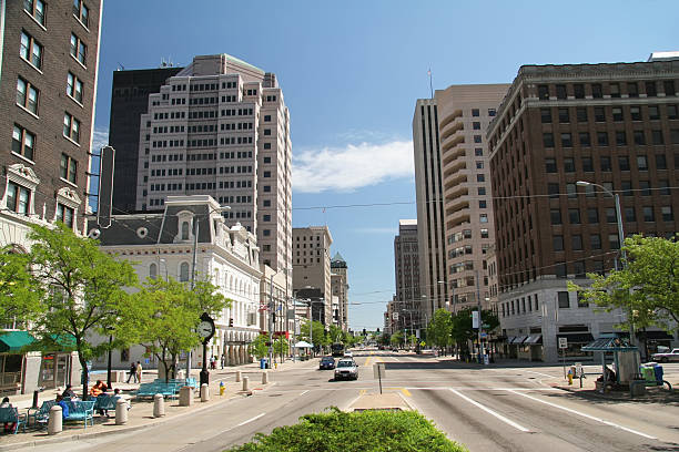 Dayton Ohio Main Street stock photo