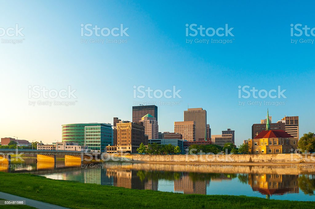 Dayton Skyline and River with Reflections at the Early Morning stock photo