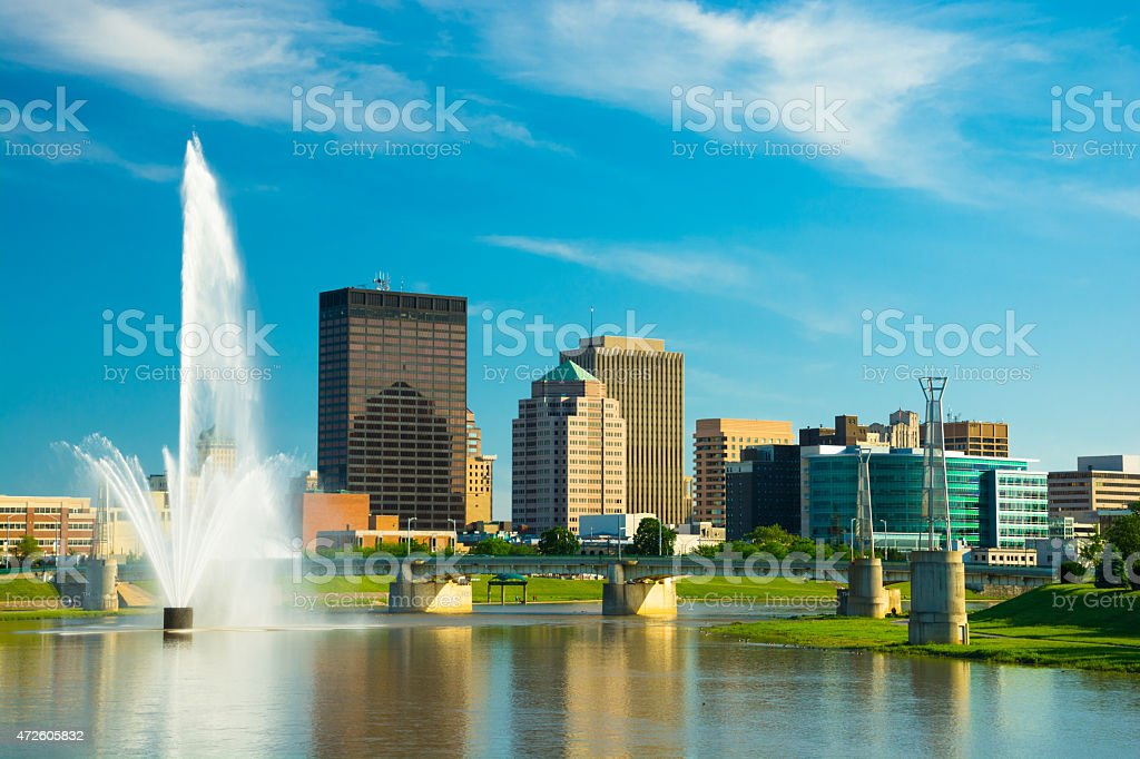Dayton skyline with fountain stock photo