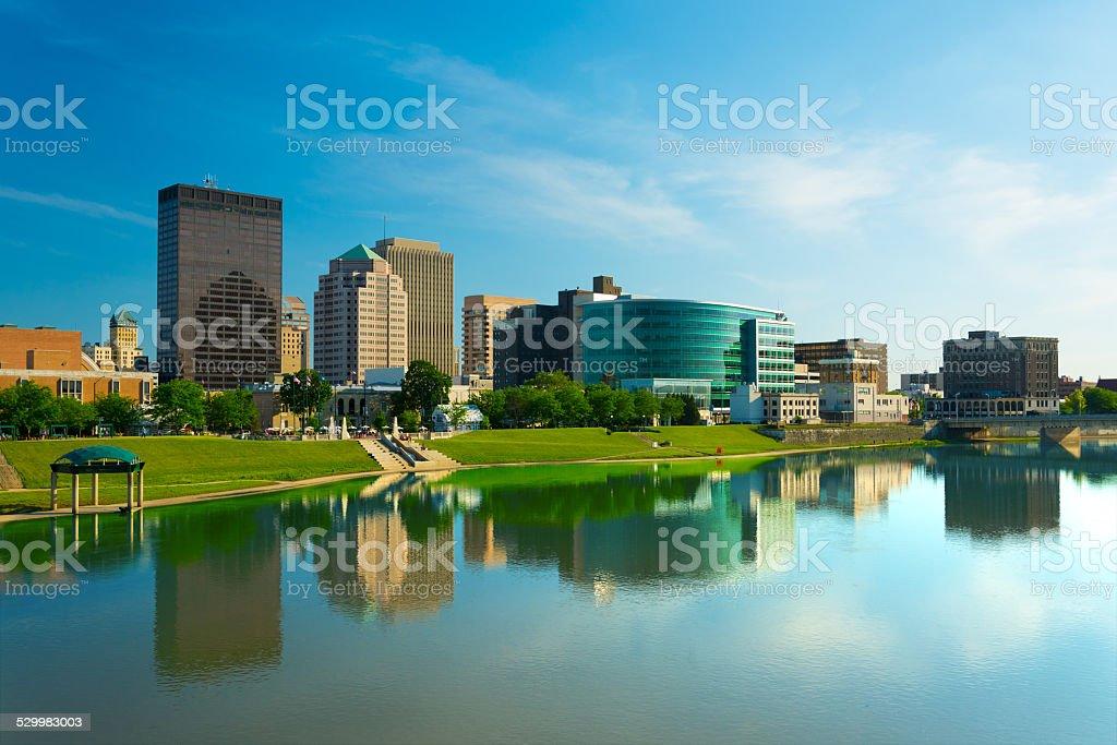 Dayton skyline with vivid color stock photo