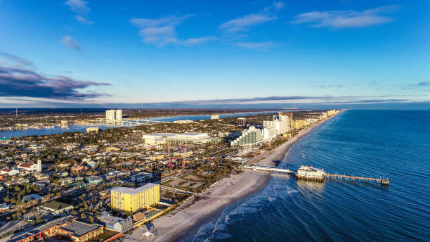 daytona beach, florida, usa coastline aerial - daytona 500 stock photos and pictures