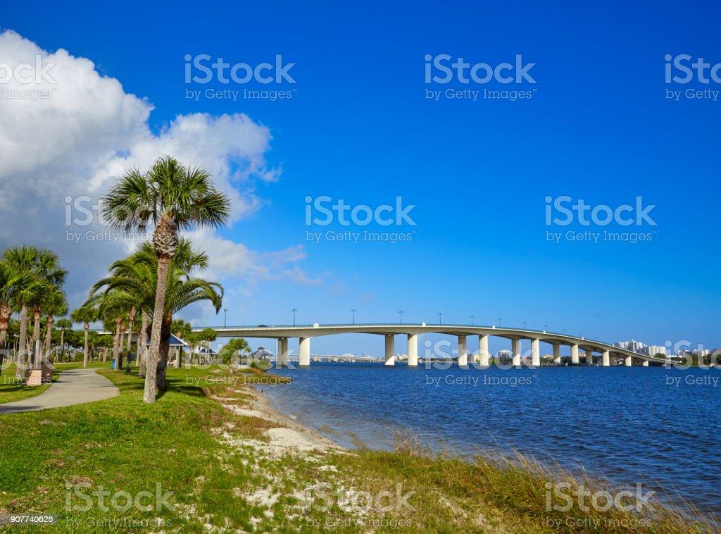 Daytona Beach Halifax river in Florida bridge stock photo