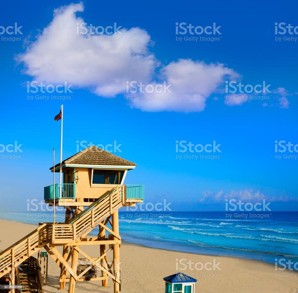 Daytona Beach in Florida baywatch tower USA stock photo