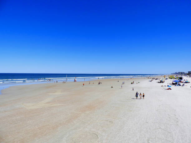 Daytona Beach in the Springtime with People stock photo