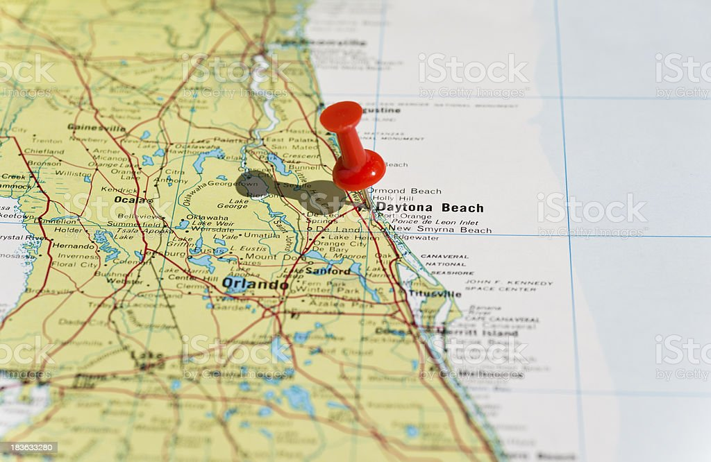 Daytona Beach Marked on Map with Red Pushpin stock photo