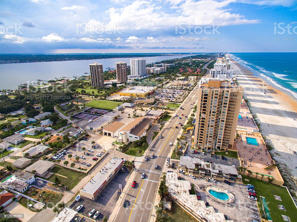 Daytona Beach skyline aerial view stock photo