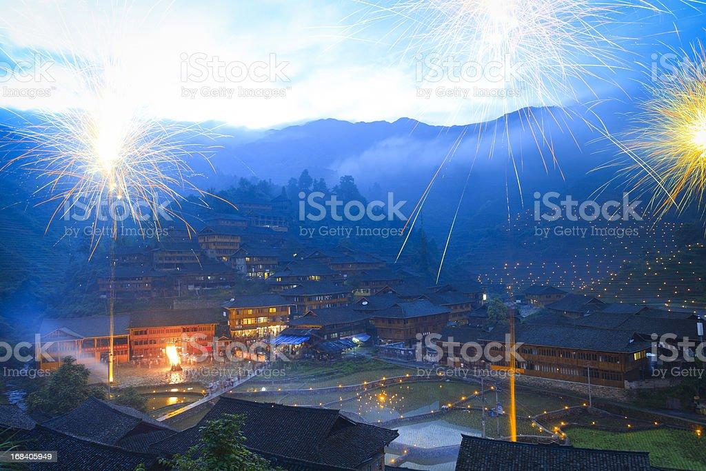 Da-zhai village torch festival stock photo