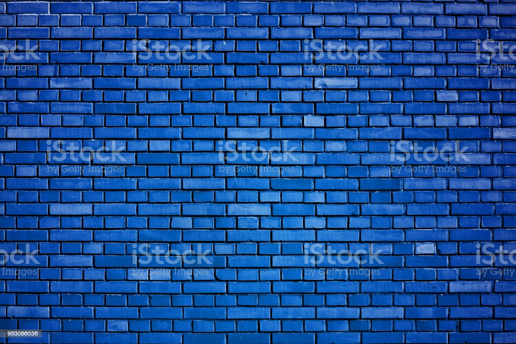 dazzling blue brick wall background stock photo