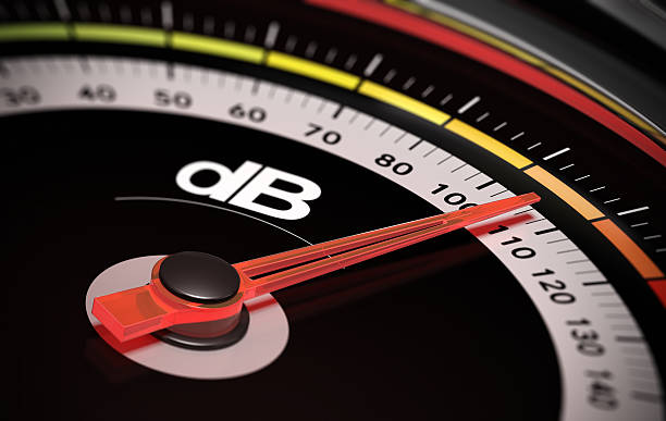 dB, Decibel level Decibel measurement. Gauge with green needle pointing 105 dB, concept of noise level meter instrument of measurement stock pictures, royalty-free photos & images