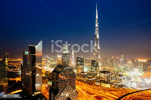 istock Dbuai sky line with traffic junction and Burj Khalifa 481117050