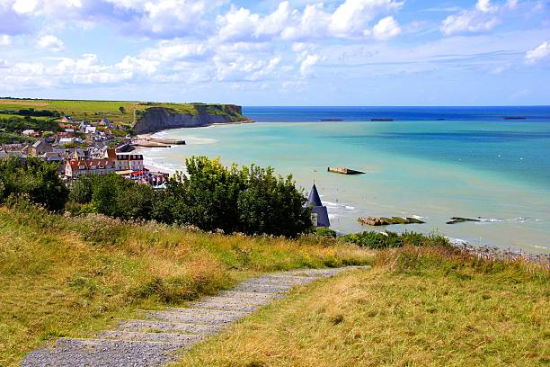 D-day beaches View over the D-day beaches at Arromanches les Bains, Normandy, France normandy stock pictures, royalty-free photos & images