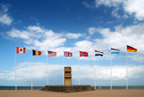 D-Day monument at Juno Beach, Normandy, France D-Day monument at Juno Beach, Normandy, France. normandy stock pictures, royalty-free photos & images