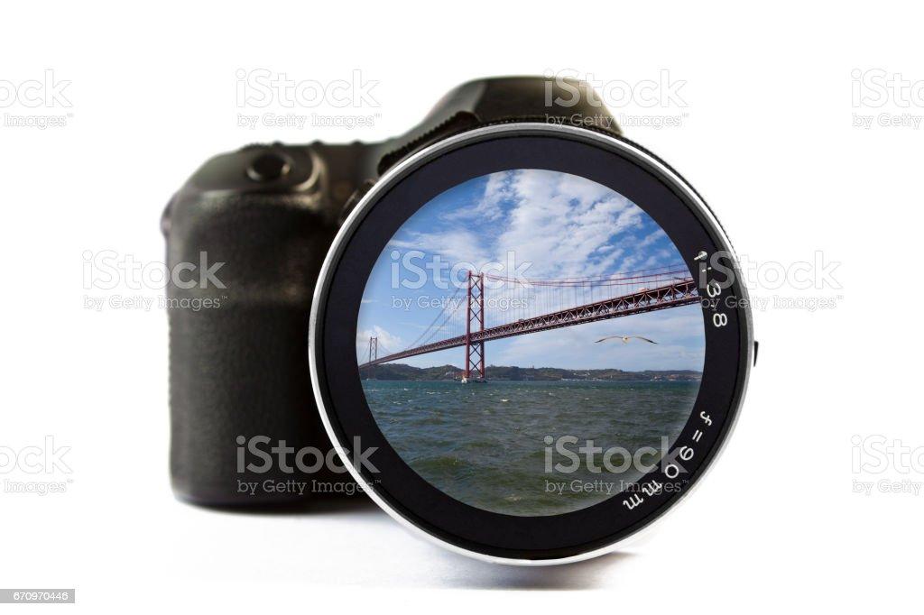 25 de Abril Bridge Seen Through a Lens of a Camera stock photo