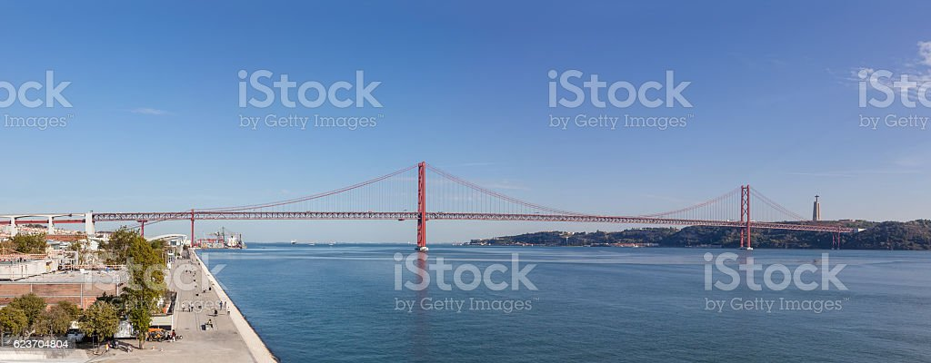 25 de Abril bridge spanning over the Tagus River. Lisbon. stock photo