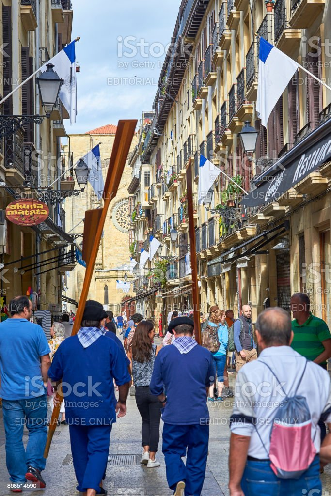 31 de Agosto street in San Sebastian Old Town. Gipuzkoa. stock photo