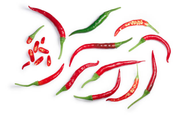 De Arbol chilies, paths, top view stock photo