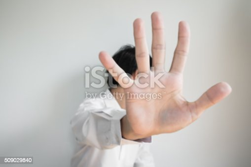 istock De focused a man showing palm hand, concept of denial 509029840