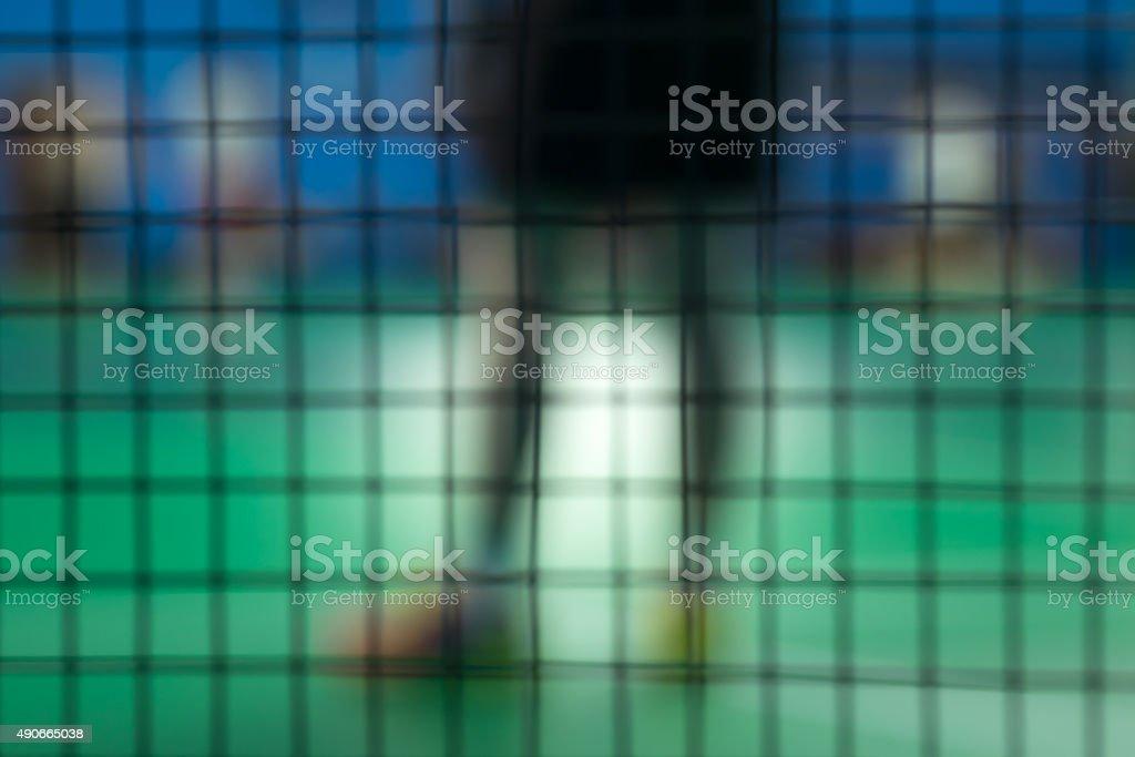 De focused badminton player stock photo