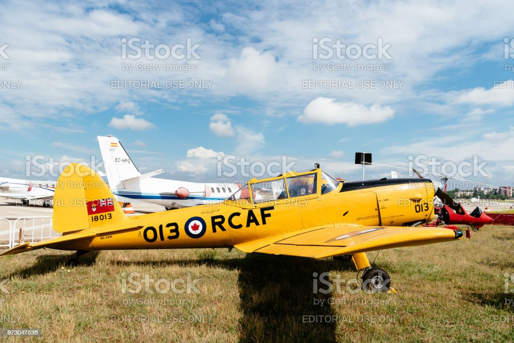 De Havilland DHC-1 Chipmunk aircraft during air show stock photo