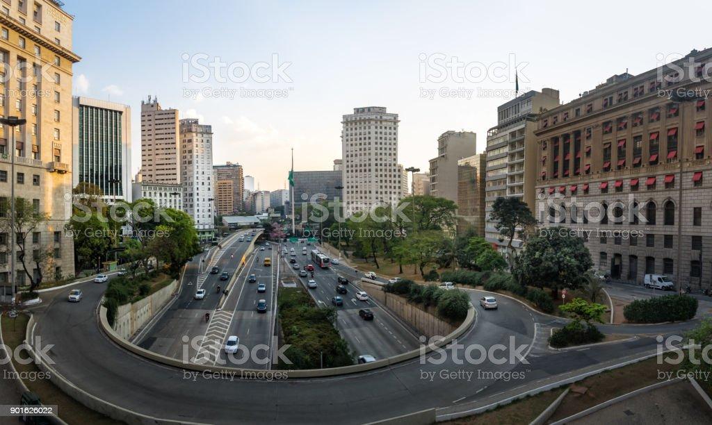 23 de Maio Avenue view from view from Viaduto do Cha (Tea Viaduct) - Sao Paulo, Brazil stock photo