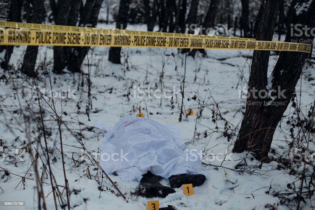 Dead Body In The Snow Covered With A Sheet In A Crime Scene ...