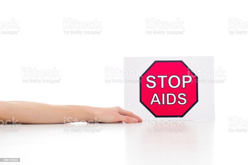 dead body near stop aids banner stock photo