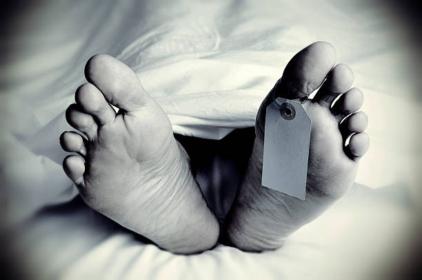 dead body with a blank toe tag, in monochrome closeup of the feet of a dead body covered with a sheet, with a blank tag tied on the big toe of his left foot, in monochrome, with a vignette added dead stock pictures, royalty-free photos & images