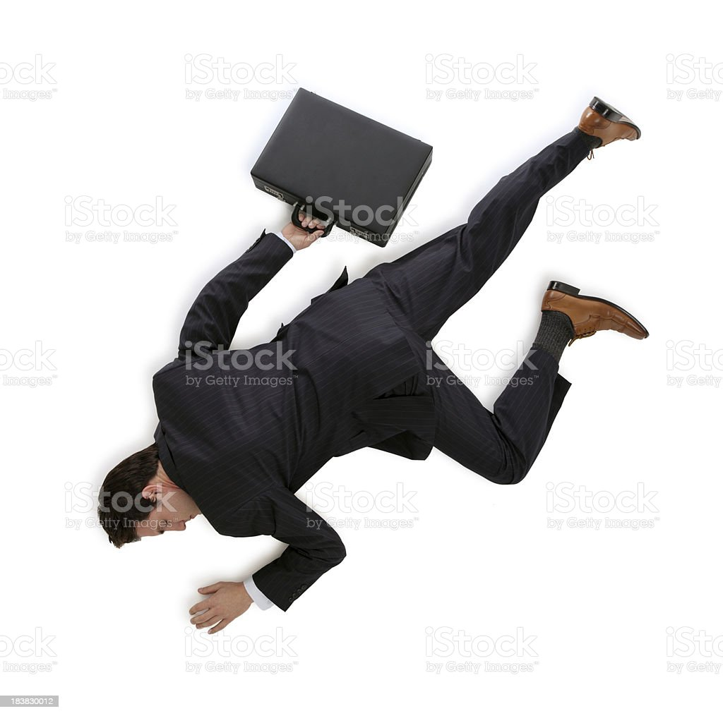 Dead Business Man Isolated on White royalty-free stock photo