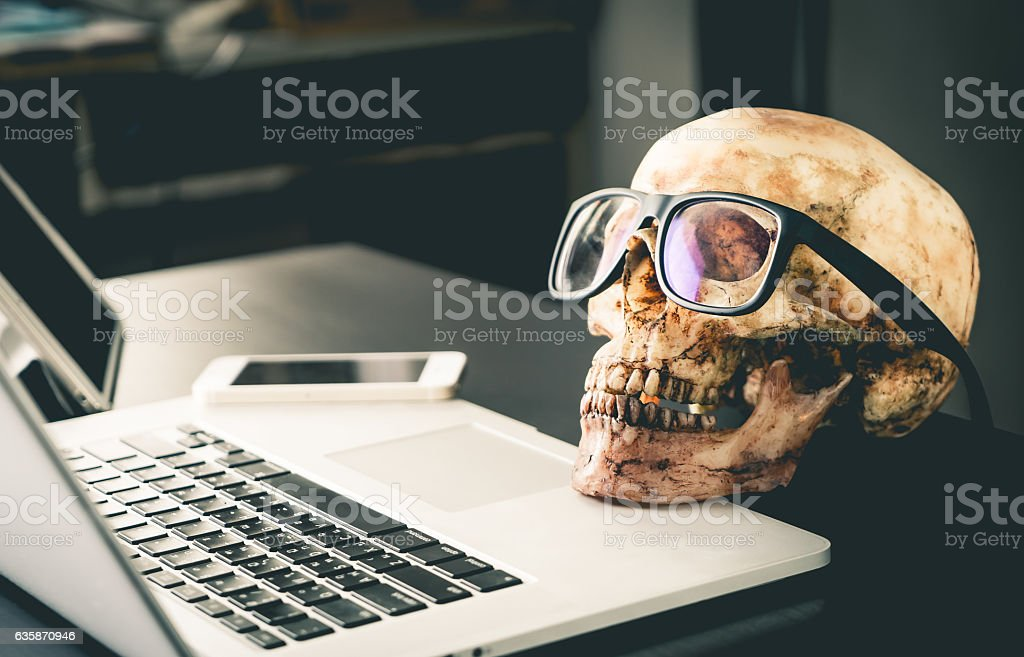 Dead Business man on office Laptop table stock photo