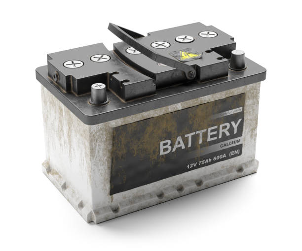 Tote Auto rostige Batterie. Recycling. – Foto