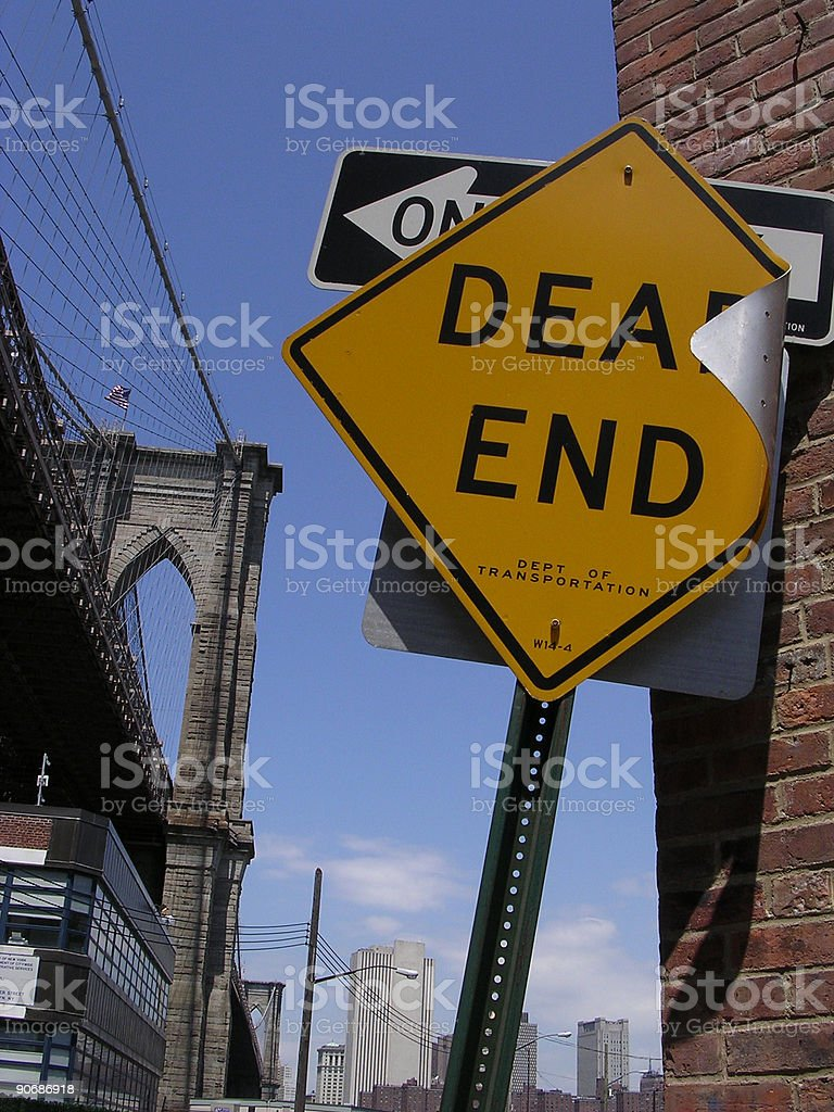Dead End Sign and Brooklyn Bridge stock photo