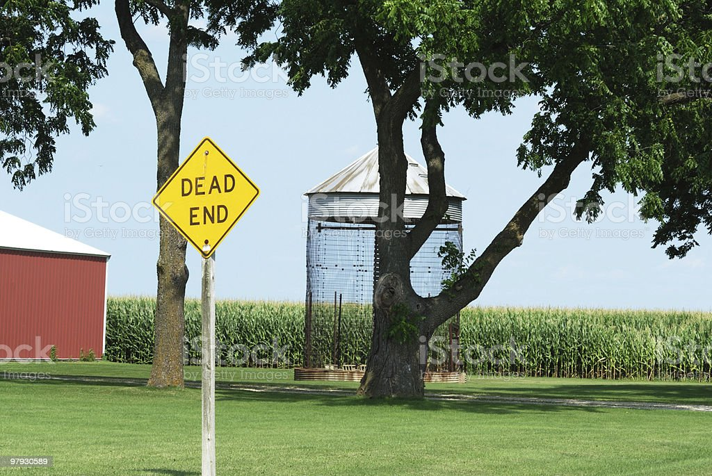 Dead End Sign by the Farm royalty-free stock photo