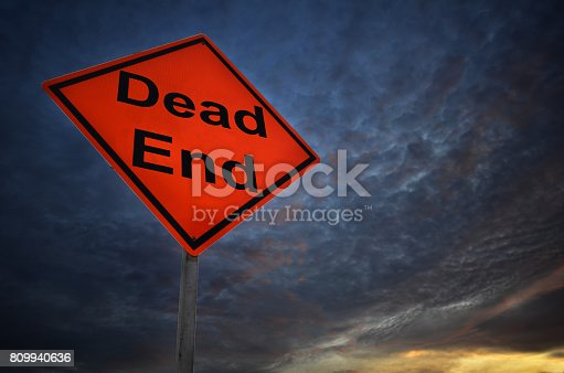 istock Dead end warning road sign 809940636