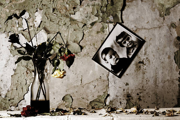 Dead flowers and broken picture frame on torn walls stock photo