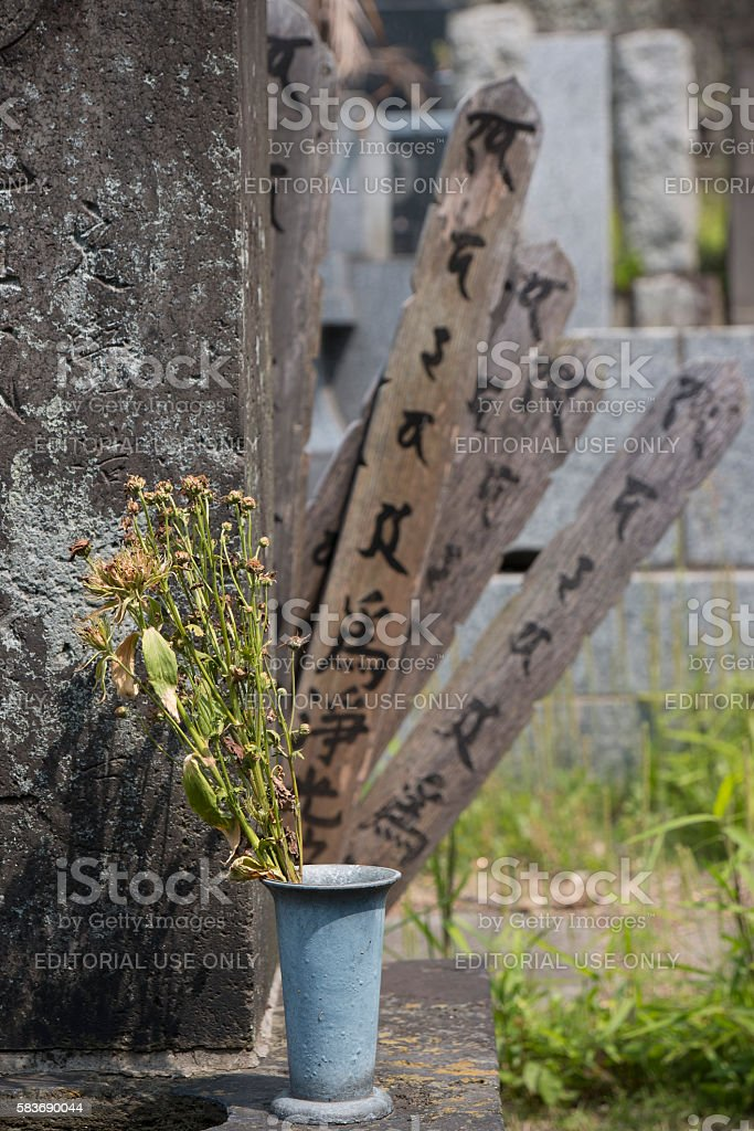 Dead flowers on a grave in a cemetery in Tokyo. stock photo