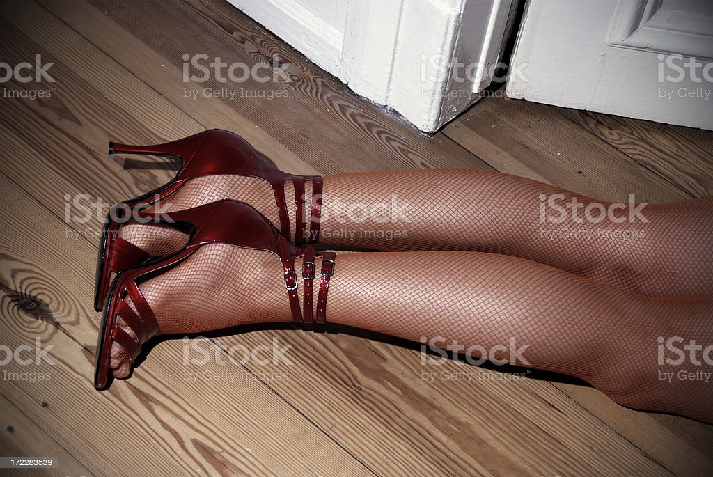 dead girl on hardwood royalty-free stock photo