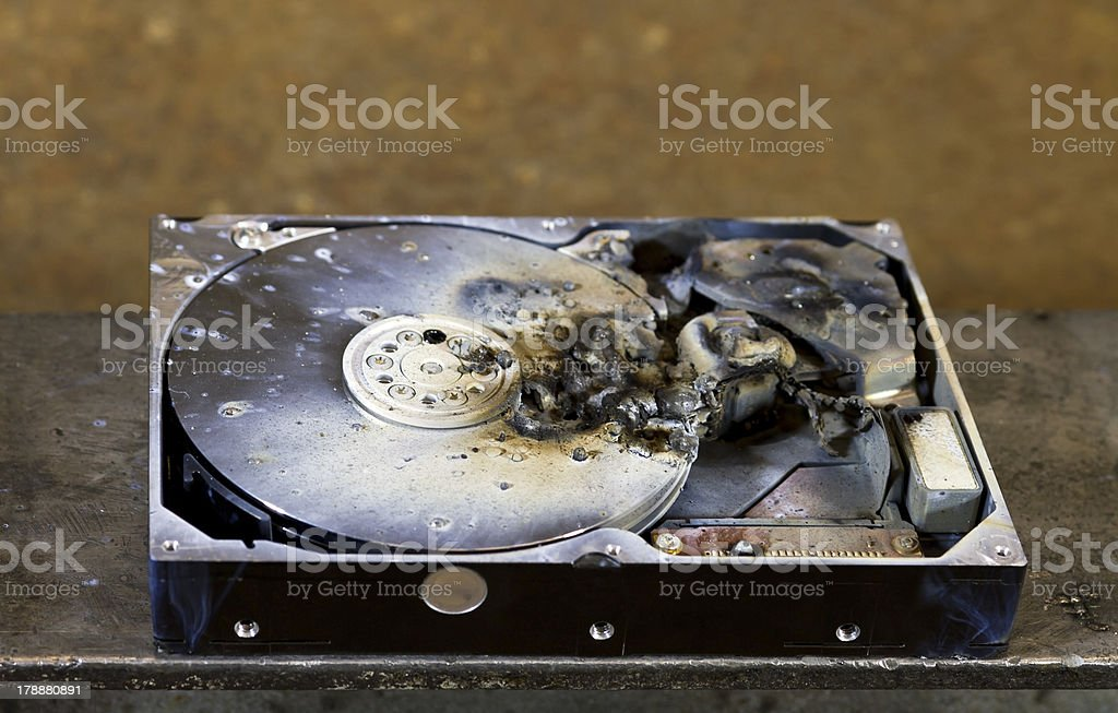 dead hard drive in close up stock photo
