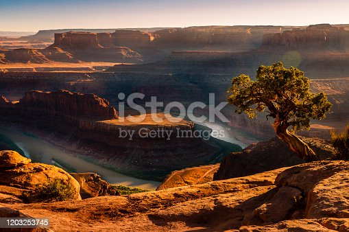 Dead Horse Point over Colorado River and Canyonlands at sunset – Utah, USA