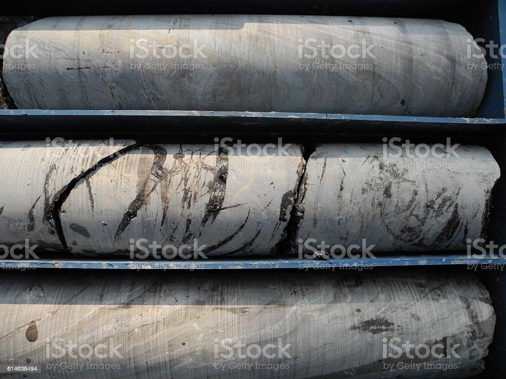 Dead petroleum/oil at the borehole sample stock photo