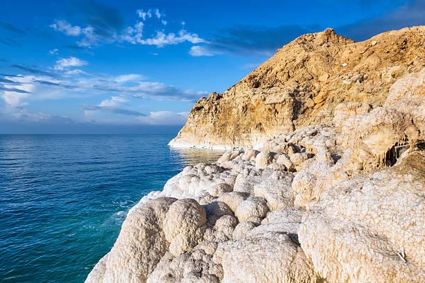 morze martwe/jordan-sól skaliste wybrzeże - morze martwe zdjęcia i obrazy z banku zdjęć