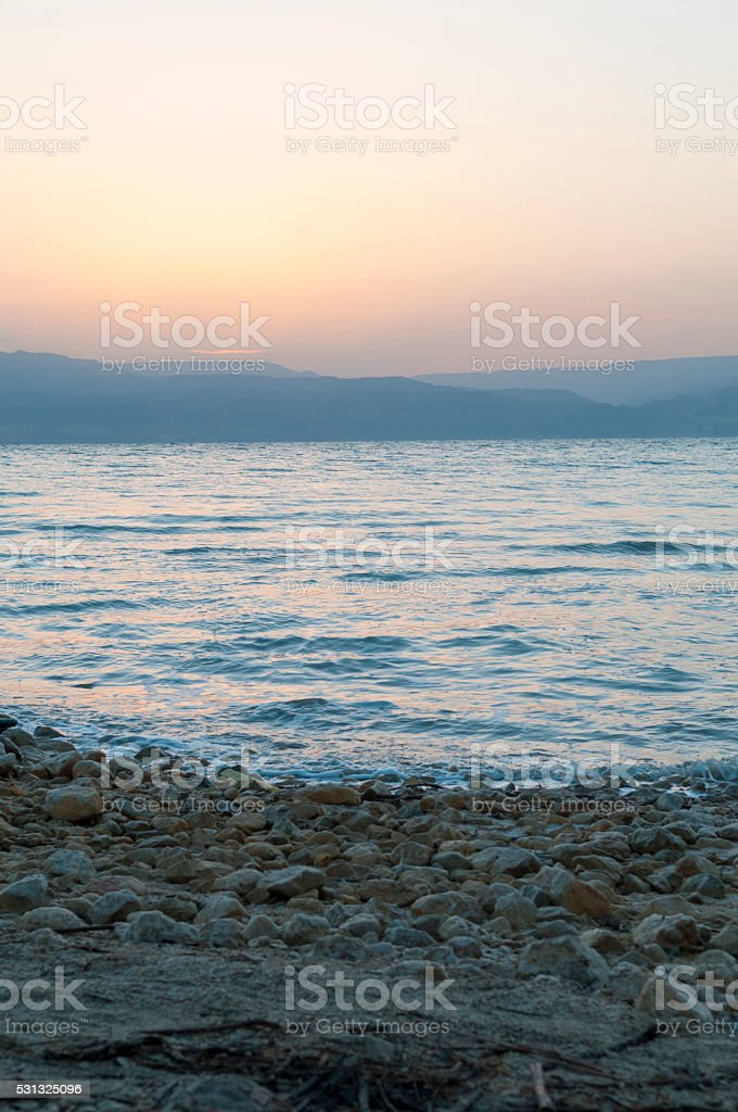 Dead Sea sunrise near Ein Gedi, Israel stock photo