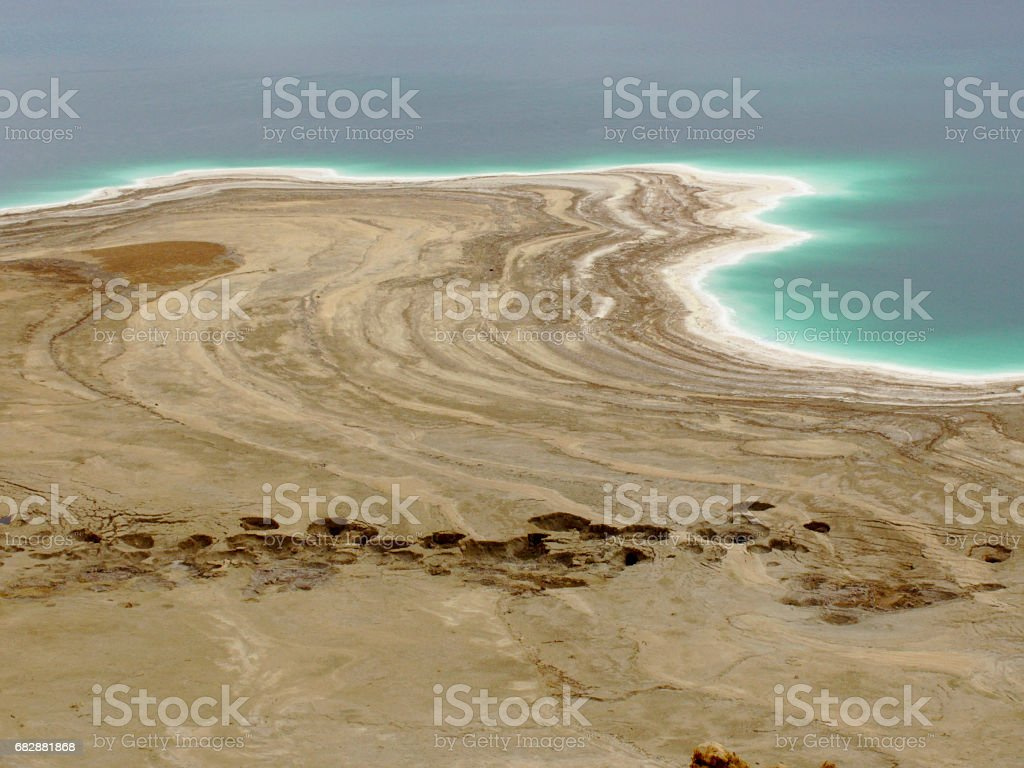 Dead sea with sinkholes stock photo