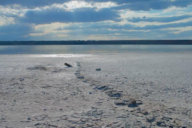 Dead shores of salty estuary near Odessa.
