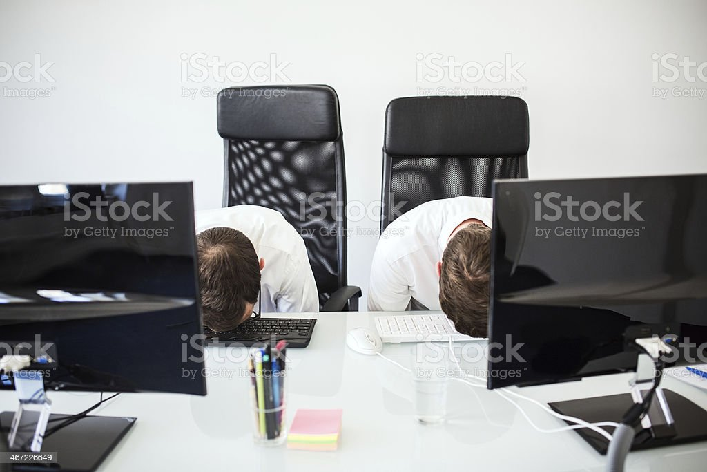 Dead Tired in The Office royalty-free stock photo