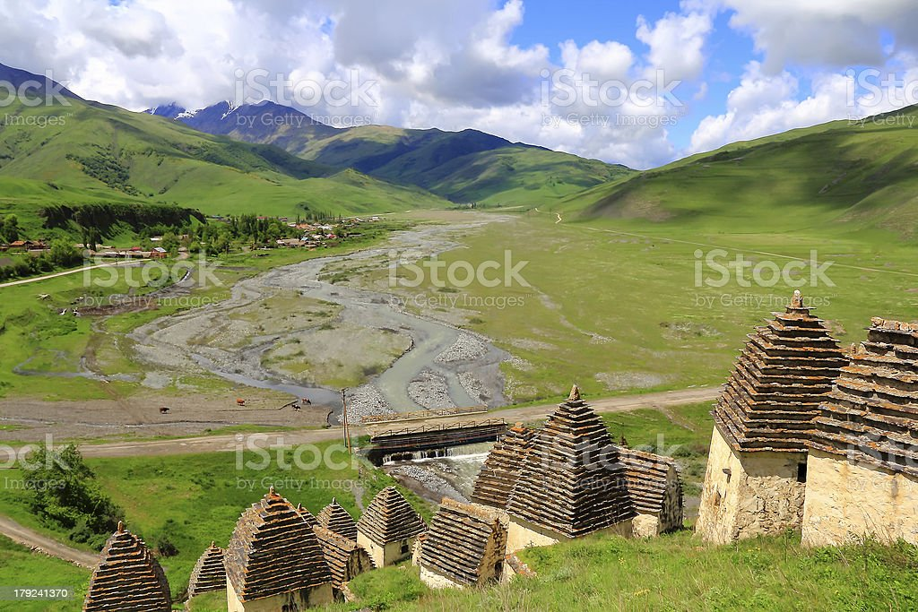 Dead town in Caucasus mountains royalty-free stock photo