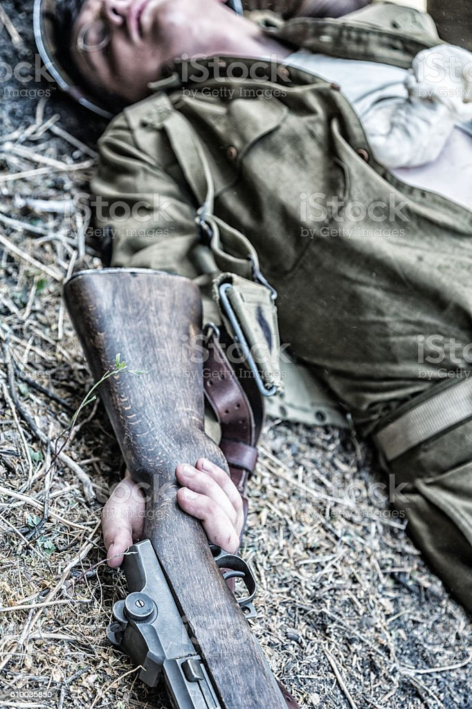 Dead World War II United States Army Infantry Soldier stock photo