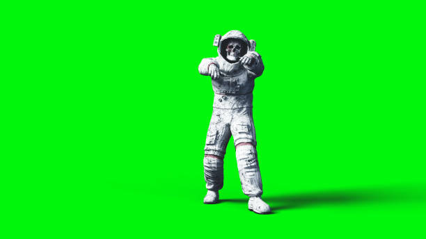 Dead zombie astronaut in space. Cadaver. Green screen. 3d rendering. stock photo
