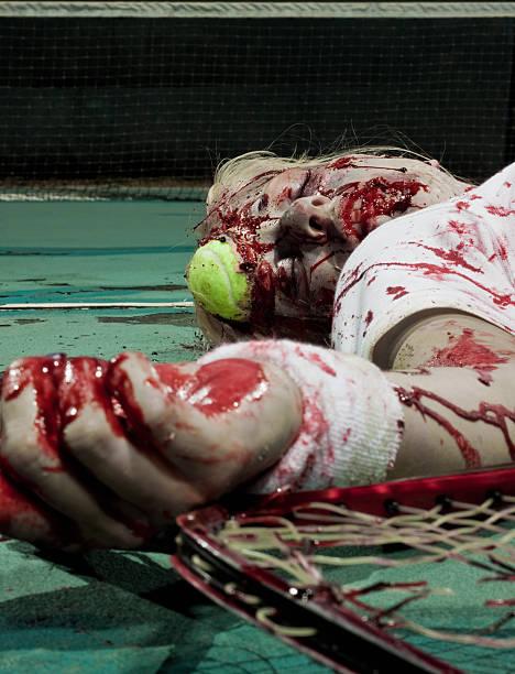 dead zombie tennis player stock photo